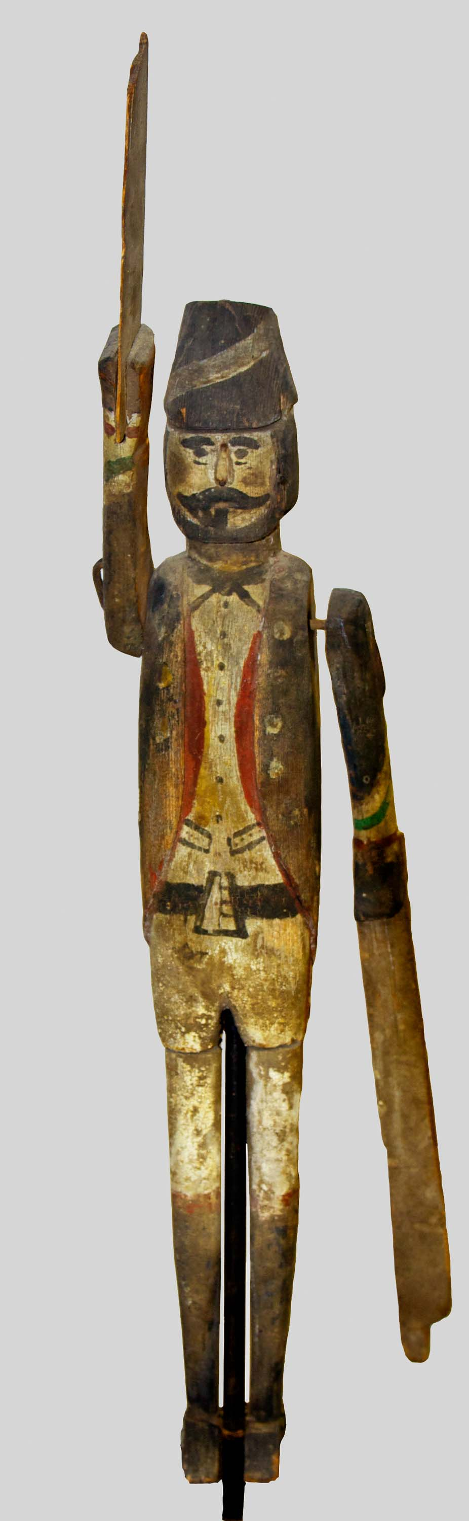 Anonymous, Cape Cod,  Whirligig Figure (soldier),  c. 1850, carved wood with original paint, 22h x 4w x 4d in.