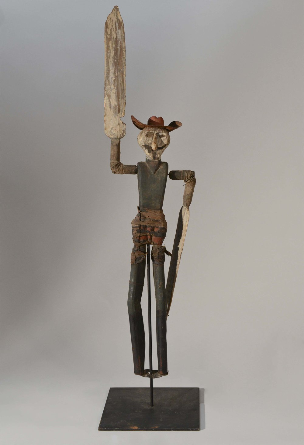 Anonymous, Cape Cod,  Whirligig Figure (man),  c. 1925, carved wood, paint with various mixed media old repairs, 22h x 4w x 4d in.