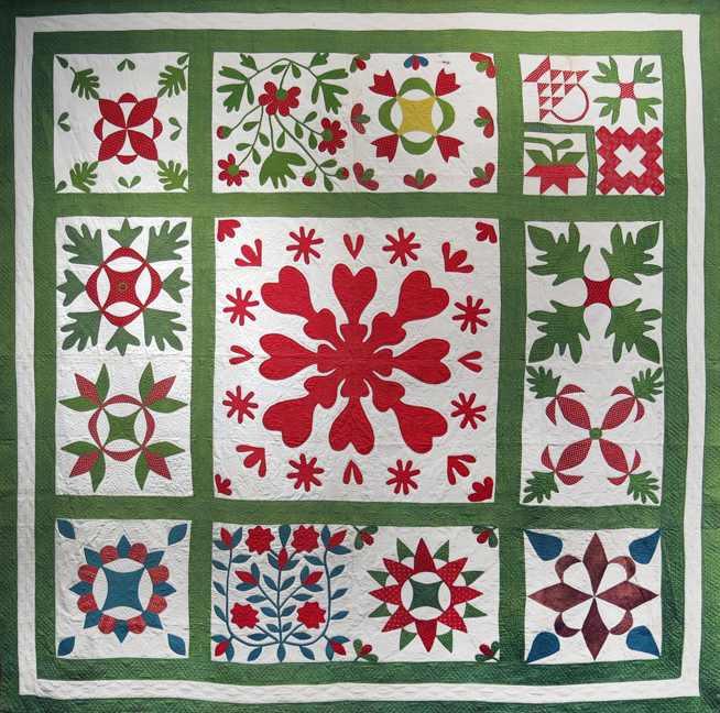 American,  Album Quilt with Central Medallion and Various Motifs , Third quarter 19th century, cotton, 90h x 90w in.