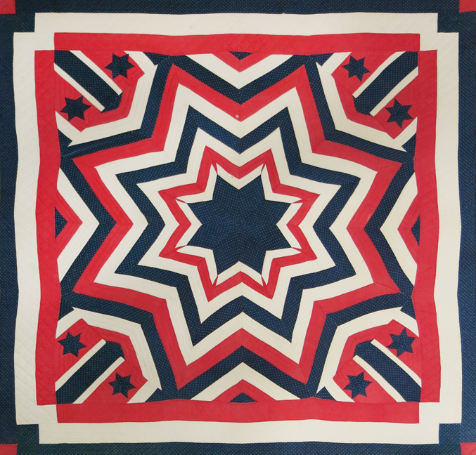 Collected in New York State,  An Original Eight Point Star Pieced Quilt , c. 1890s, cotton, 88h x 88w in.