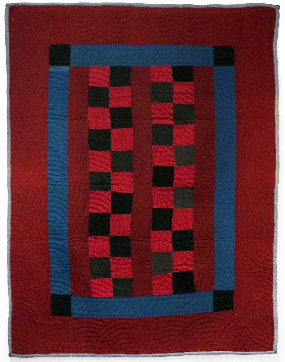 Amish, Lancaster County, PA,  Amish Four Patch Bars Pieced Crib Quilt , c. 1920s, wool, 50h x 38w in.