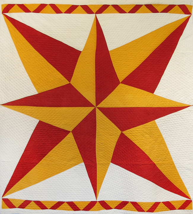 Amish or Mennonite, Lancaster County, PA,  Compass Star or Compass Rose Pieced Quilt , c. 1880s, cotton, 77h x 67.5w in.