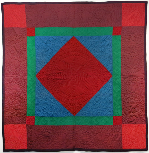 Amish, Lancaster County, PA,  Diamond in the Square Pieced Quilt , c. 1930s-40s, Wool, 76.5h x 74.5w in.