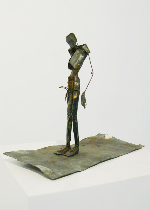 "June Leaf,  Gentleman , 1999-2000, tin, 3 1/4""W x 7""D x 5 1/4""H"