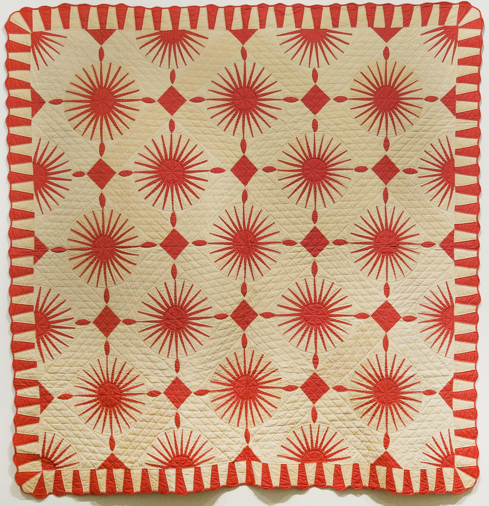 American,  Mariner's Compass Quilt , Fourth quarter 19th century, cotton, 80h x 80w in.