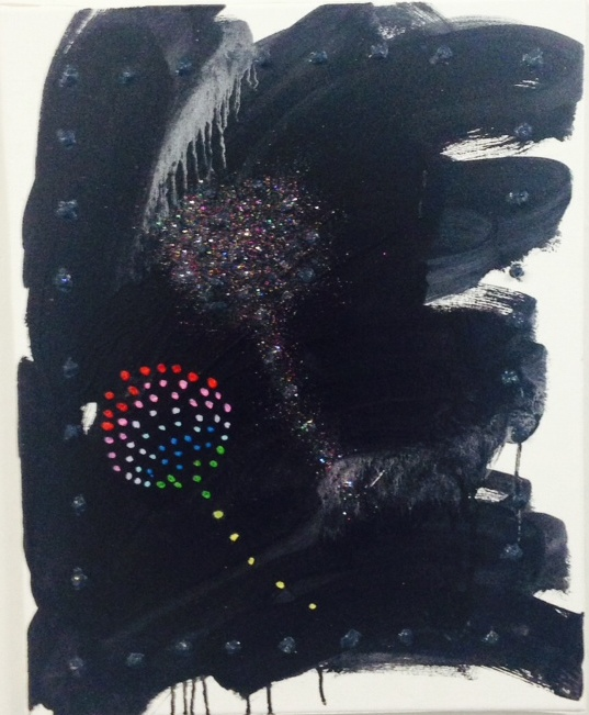 Jason Stopa,  Dandelion (Joggie's Wish) , 2014, oil and glitter on canvas, 16h x 12w in.