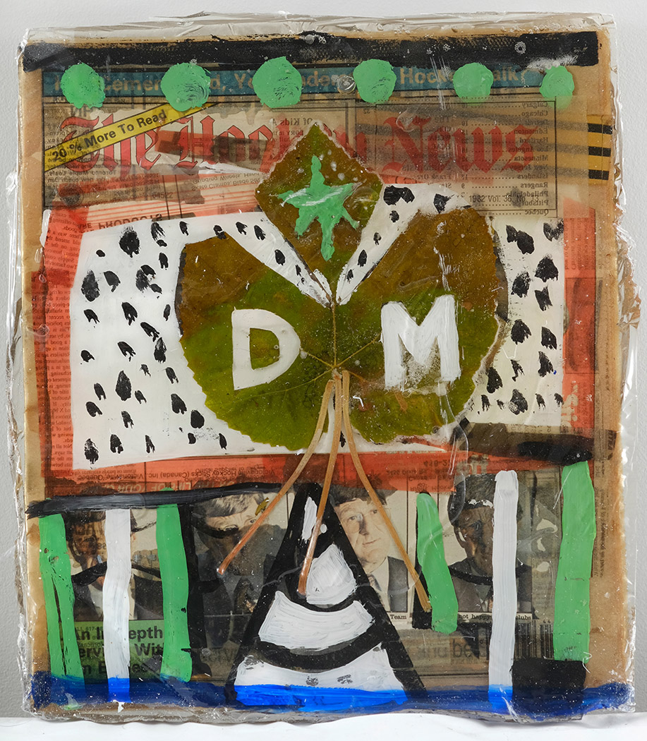 Mark DeLong,  Mark DeLong , 2014, acrylic paint, paper, leaves and resin on newspaper, 16h x 14w in.