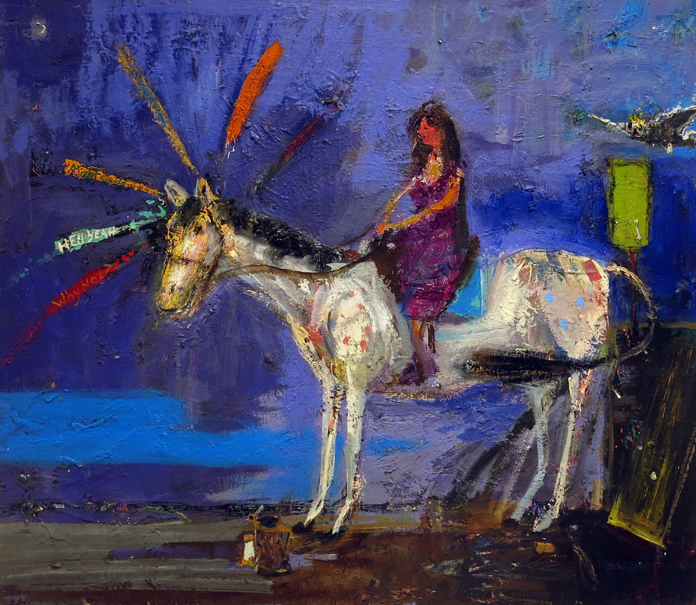 Matthew Blackwell,  Her Pony,  2016, oil on canvas, 26h x 30w in.