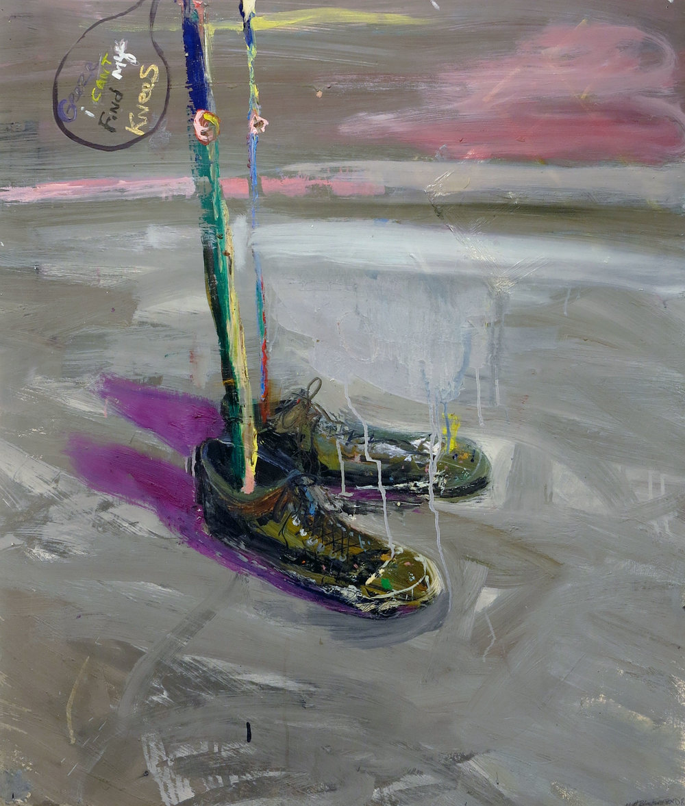 Matthew Blackwell,  He's Gone,  2010, oil on paper on canvas, 34h x 30w in.