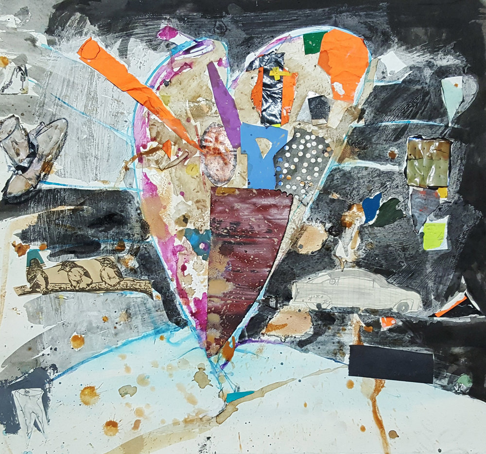 Matthew Blackwell,  Pilgrim,  2015, Mixed media and collage on paper on canvas, 22h x 24w in.