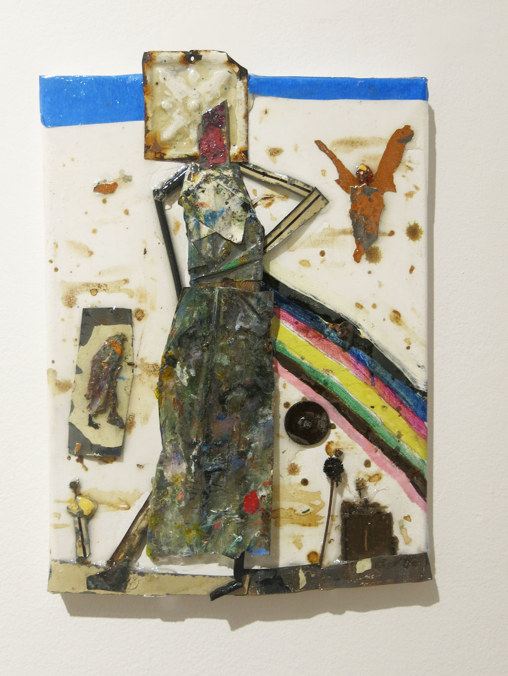 Matthew Blackwell,  Esther and Mordecai,  017, mixed media, collage, resin on canvas, 12h x 9w in.
