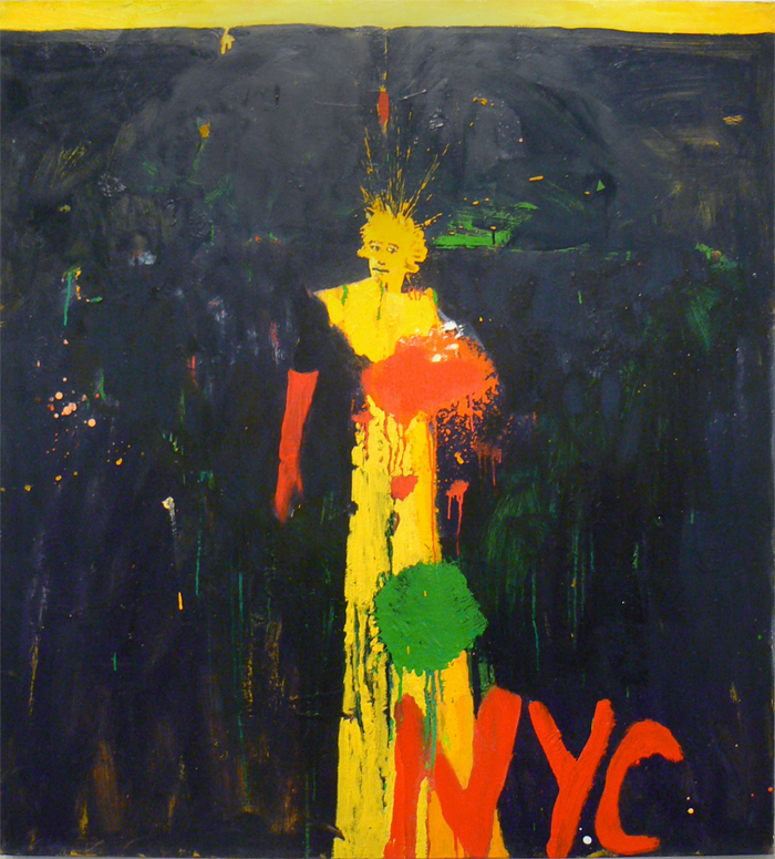Katherine Bradford, 2011,  Lady Liberty , Oil on canvas, 48h x 44w in.