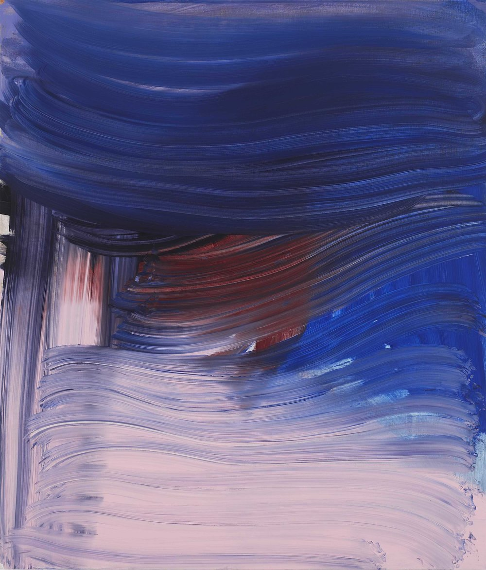 Andrea Belag, 2012,  Big Blue , Oil on linen, 56h x 48w in.