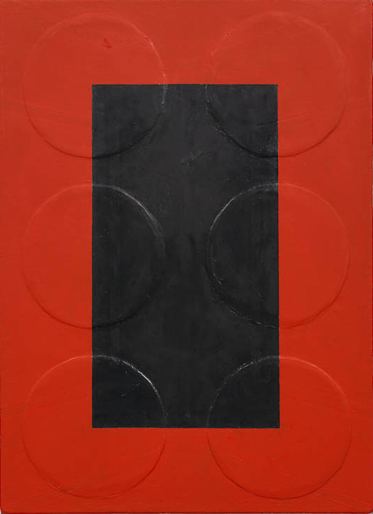 Andrew Spence, 2012,  Red Black , Oil, wood on canvas, 22h x 16w in.