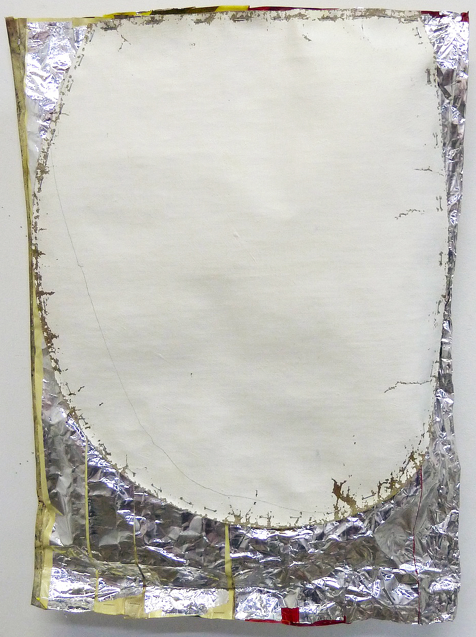 Jim Lee, 2012-13,  Stroke (Soft Construction) , Oil on linen with aluminum tape, gaffer's tape, electrical tape, dust, staples, 24.5h x 18w x 3d in.