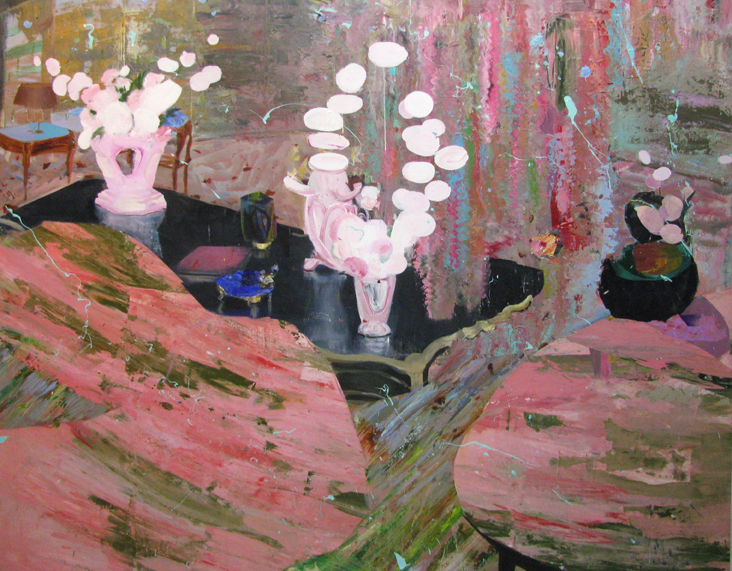 Judith Simonian,  Extreme Ikebana , 2012-2013, Acrylic, collage on canvas, 66h x 84w in.