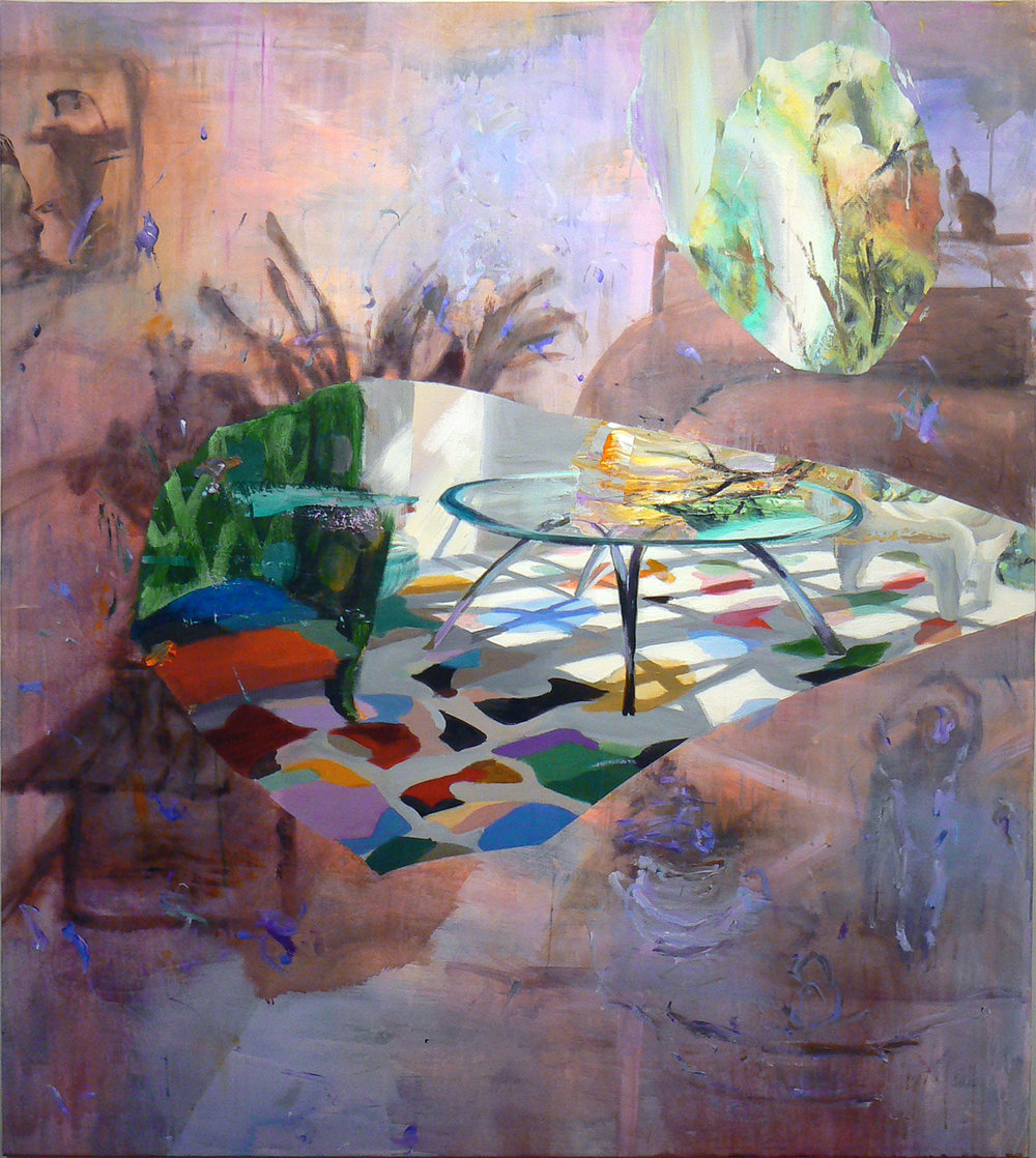 Judith Simonian,  Multicolored Carpet , 2013, Acrylic, collage on canvas, 72h x 64w in.