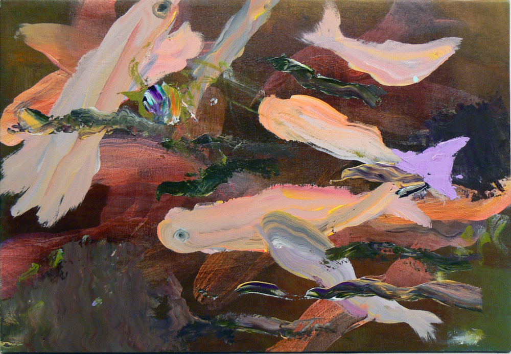 Judith Simonian,  Deep Water Fish , 2012, Acrylic on canvas, 13.25h x 19w in.