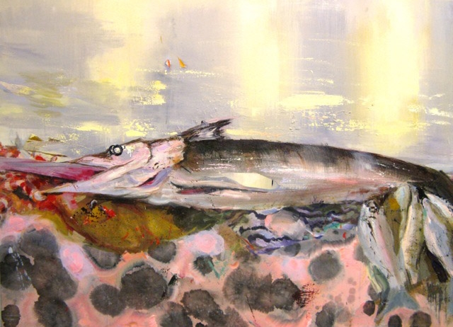 Judith Simonian,  Big Catch , 2012, Acrylic on canvas, 44h x 60w in.
