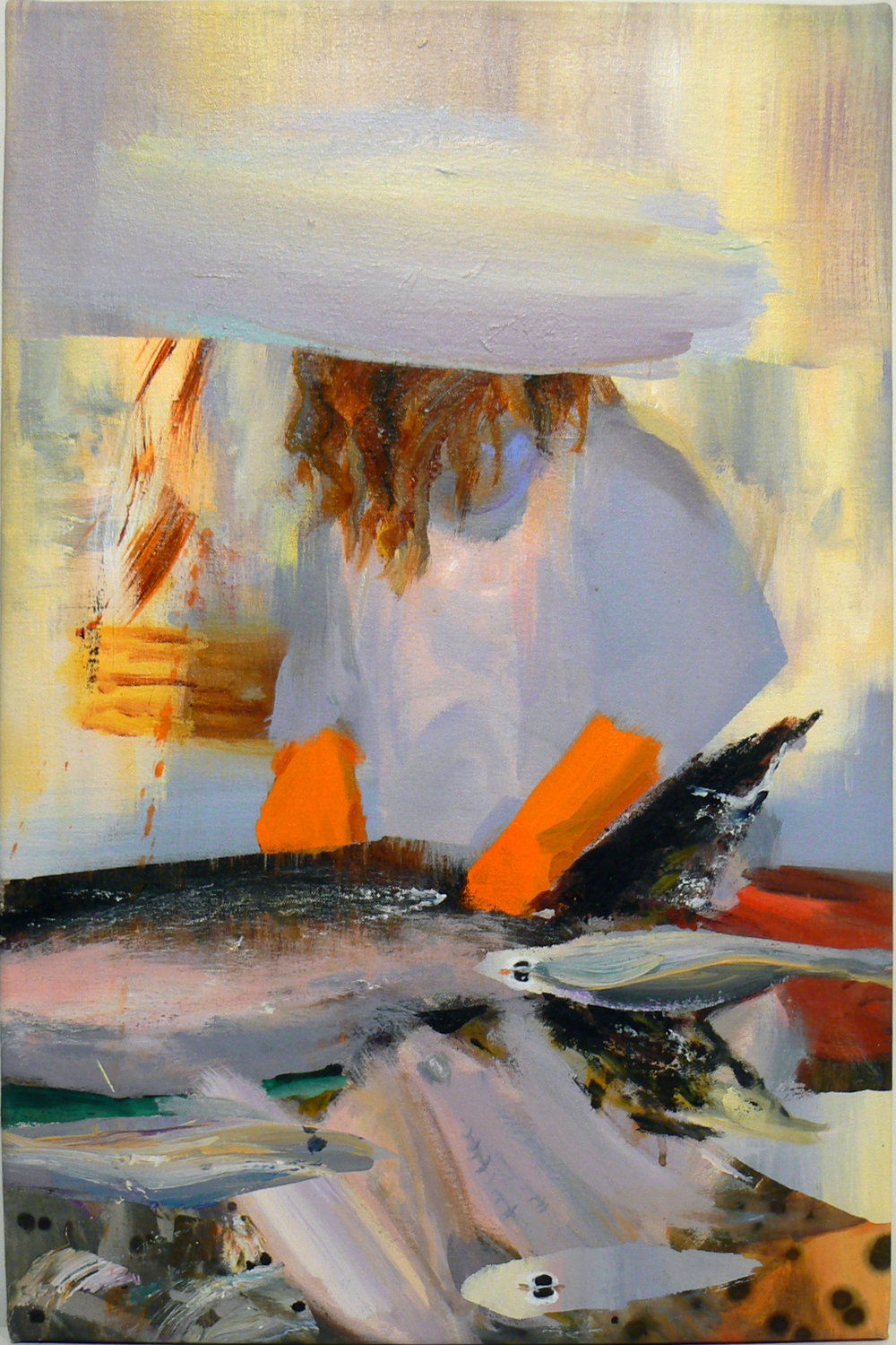 Judith Simonian,  Fish Monger , 2012, Acrylic on canvas, 26h x 17w in.
