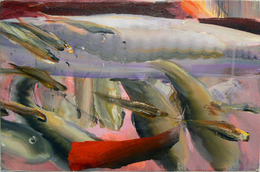 Judith Simonian,  Sharkie,  2012, Acrylic, collage on canvas, 12h x 18w in.