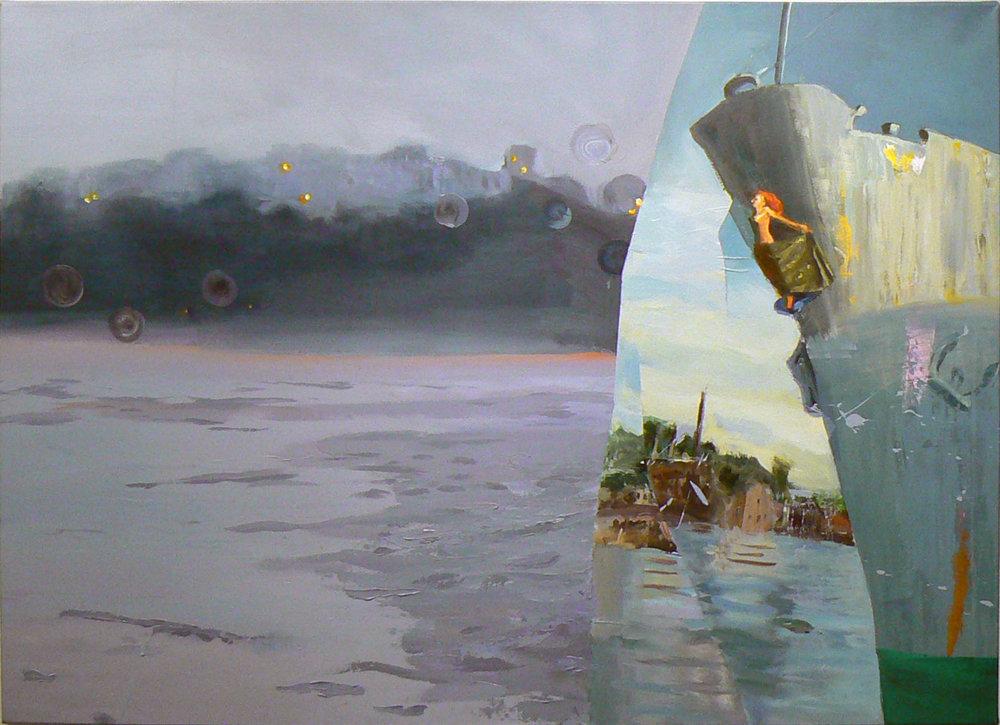 Judith Simonian, Sperlonga in Norway , 2011, Acrylic on canvas, 46h x 63w in.
