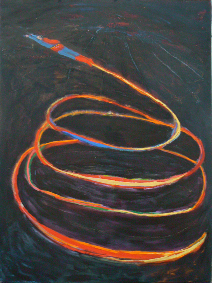 Katherine Bradford,  Superflyer,  2011, oil and canvas, 48h x 36w in.