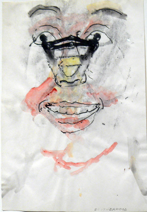 June Leaf,  Brotherhood,  1980, ink, watercolor, and charcoal on paper, 11h x 8 1/2w in.