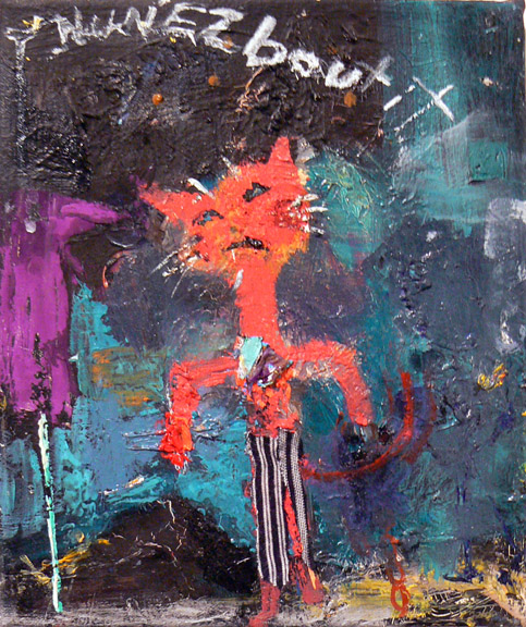 Matthew Blackwell,  Cat's Pajamas , 2007-8 Oil and Collage on Canvas, 10h x 81/4w in.