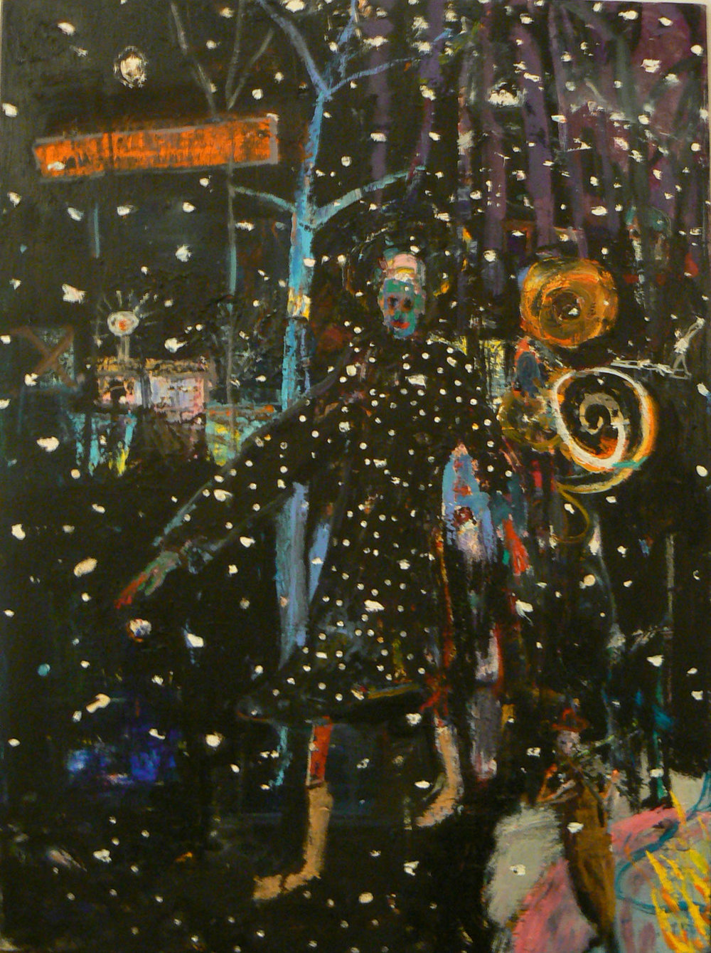 Matthew Blackwell,  Trance Dance,  2009-2012, oil on canvas with collage, 42h x 30w in.