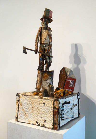 Matthew Blackwell,  Splitter,  2005-2013, tin, galvanized metal, rivets, caulk, wire, paint, coins, 25h x 11w x 11din. (with stand)