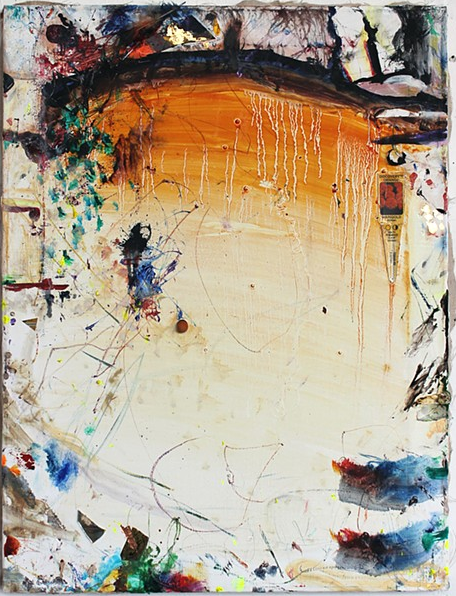 Mike Olin,  Marigold,  2013, oil, mixed media on linen, 21h x 16w in.