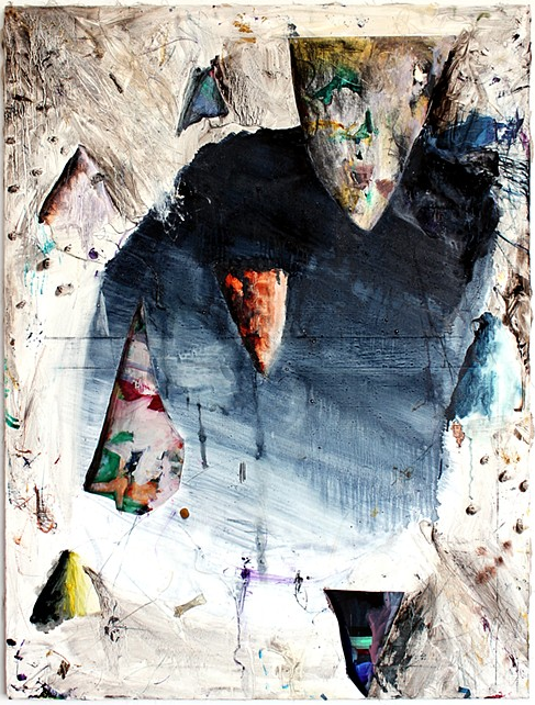 Mike Olin,  Dewclaw (cavepool),  2011, oil, mixed media on linen, 36h x 27w in.