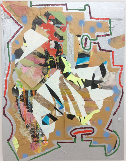 Patrick Brennan,  Steal Away Mama,  2013, acrylic, oil, iridescent gel medium, mylar, on wood panel, 48h x 36w in.