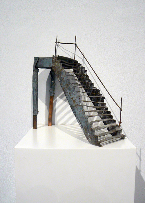 June Leaf,  Staircase,  2011, tin, copper, wood, 8.75h x 7.25w x3d in.