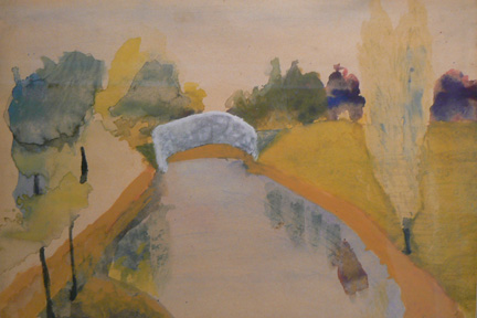 Charles W. Hutson,  Bridge in City Park,  c. 1910-1920, watercolor on paper, 17.25h x 21.5w in. (framed)