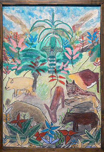 Odilon Pierre, c. 1975,  Animals in Landscape,  mixed media on linen, 30.5h x 21.25w in.