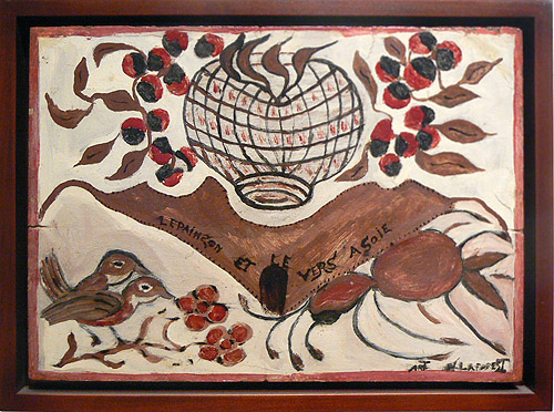 Wesner La Forest, early 1960s,  Bird and Moth,  mixed media on masonite, 10.5h x 14.5w in.