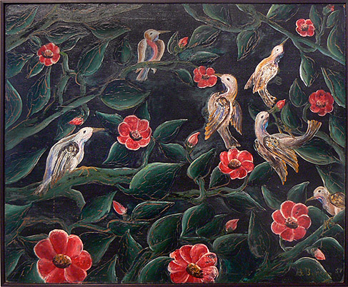 Bourmond Byron, 1957,  Birds and Flowers,  mixed media on masonite, 20h x 24w in.