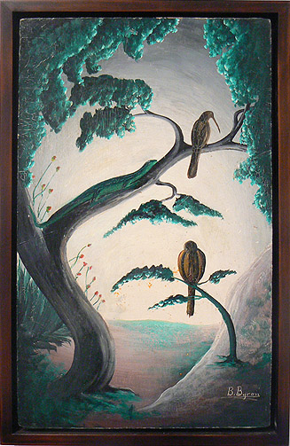 Bourmond Byron, c. 1957-1961,  Birds in Trees,  mixed media on masonite, 19.75h x 12w in.
