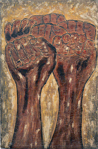 Odilon Pierre, prior to 1986,  Clenched Fists,  mixed media on canvas