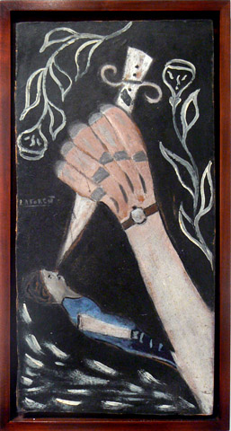 Wesner La Forest, early 1960s,  Hand and Dagger,  mixed media on masonite, 19.25h x 9.5w in.