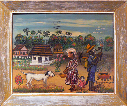 Peterson Laurent, c. 1950s,  Family and Dog in Village,  mixed media on masonite, 15.75h x 19.5w in.