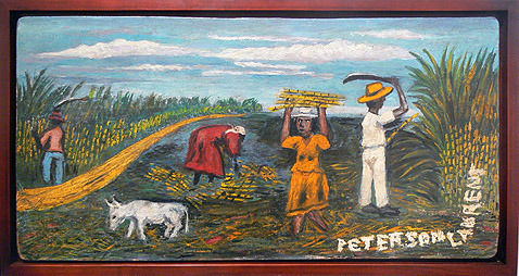 Odilon Pierre, c. 1950s,  Farmers in Fields,  mixed media on masonite, 11.75h x 23.75w in.
