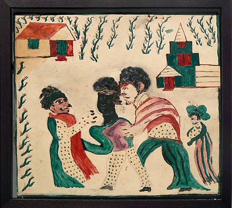 Wesner La Forest, early 1960s,  Festive People in Village,  mixed media on paper, 11h x 11.5w in.