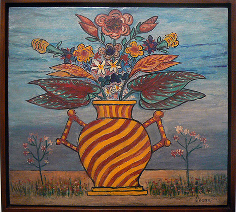 Peterson Laurent, c. 1950s,  Large Flowers in Ornate Vase,  mixed media on masonite, 22.25h x 24.25w in.
