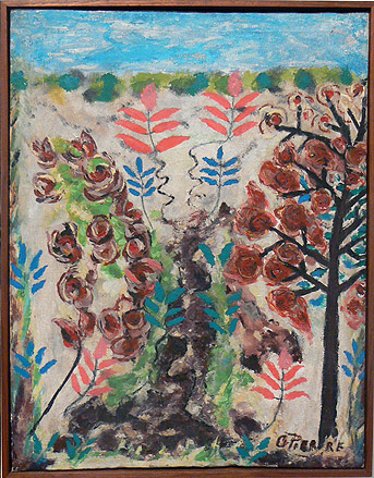 Odilon Pierre, prior to 1986,  Flowers in Landscape,  mixed media on canvas, 17.75h x 14w in.