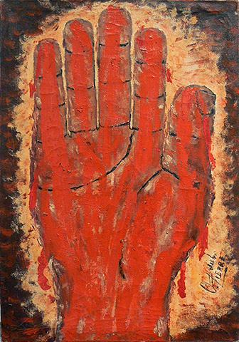 Odilon Pierre, prior to 1986,  Red Radiant Hand #1,  mixed media on canvas, 19h x 13.25w in.