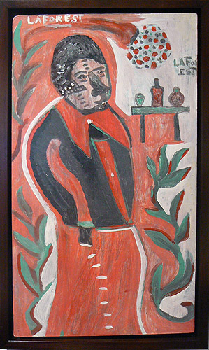 Wesner La Forest, early 1960s,  Man in Red,  masonite board, 21.5h x 12.25w in.