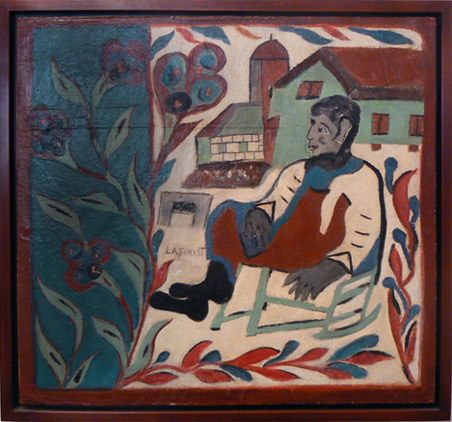 Wesner La Forest, early 1960s,  Man Seated on Porch Outside his House,  mixed media on masonite, 17h x 18w in.